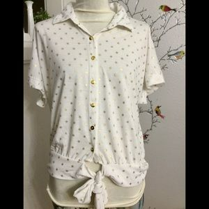 French Laundry Stretchy Soft White Gold Button Top